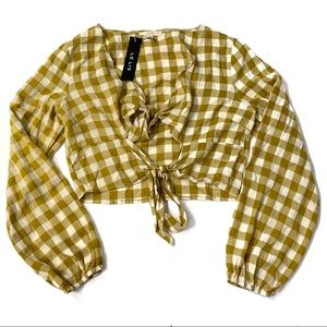 NWT Le Lis Mustard Yellow Checks Tie Front Top